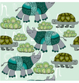 turtle and rhinos vector image