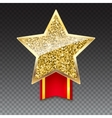 Golden star with gold sparkles and glitter on red vector image