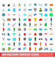 100 military service icons set cartoon style vector image