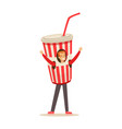 smiling man wearing cup of soda drink costume vector image