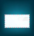 Single close envelope on blue background vector image vector image