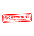 Copyright all rights reserved red stamp vector image