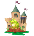 A frog prince with a castle at his back vector image