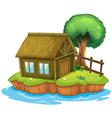 A house and tree on island vector image