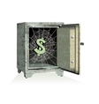 Dollar sign on spiderweb inside of an open safe vector image vector image