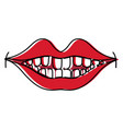 happy mouth with teeth design icon vector image