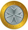 Maltese money gold euro coin one euro vector image