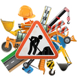 Road Construction Concept with Sign vector image vector image