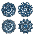 Circular patterns with blue openwork ornament vector image vector image