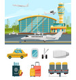 airport terminal aircraft and vector image