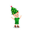 cute little boy in the costume of hristmas tree vector image