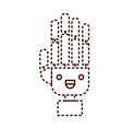 robot hand cartoon kawaii in monochrome dotted vector image