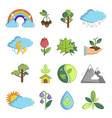nature icons set symbols cartoon style vector image