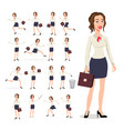 set girl businesswoman in a white blouse in vector image