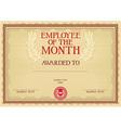 Emplyee of the month certificate vector image vector image