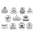 Bakery and pastry emblems or signboards vector image