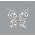 White paper butterfly with vintage pattern on gray vector image