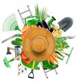 Garden Accessories with Sun Hat vector image