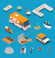 catering isometric icons set vector image