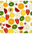 colorful sliced various fruit summer seamless vector image