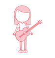 cute pink women guitar cartoon vector image