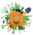 Garden Accessories with Sun Hat vector image
