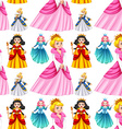 Seamless queens in different dresses vector image