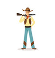 man in american traditional costume with rifle vector image