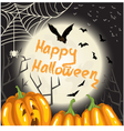 Halloween background with pumpkins moon and bats vector image
