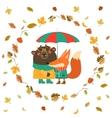 Cute fox and bear hugging under umbrella in wreath vector image
