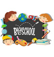 Back to school theme with boy and girls vector image vector image