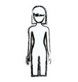 blurred silhouette faceless front view woman naked vector image