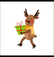 cartoon christmas reindeer character with present vector image