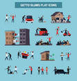 ghetto slum flat icon set vector image