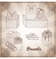 Set of doodle hand drawing presents and gifts vector image