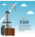 time travel plane city bagagge vector image
