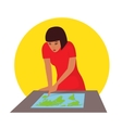 Travelling concept Woman planning journey vector image