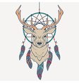 with deer and dream catcher vector image
