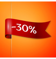 Red ribbon with inscription 30 percent discounts vector image