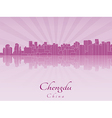 Chengdu skyline in purple radiant orchid vector image