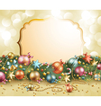 christmas vintage garland with baubles vector image vector image
