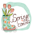 spring rain boots with tulips vector image