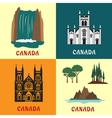 Canadian travel landmarks flat icons vector image