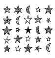 Hand drawn star and moon doodles collection vector image