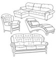 set with hand drawn doodles vector image