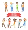 Young Boys Singing In Karaoke vector image