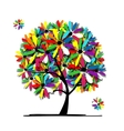 Colorful floral tree for your design vector image vector image