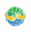 abstract earth in hands circle hug vector image