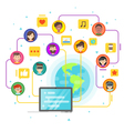 flat style concept of social network vector image