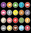 Home theater icons with long shadow vector image